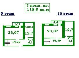 ДВУХУРОВНЕВАЯ 3-комн.квартира, 115, 8м в НОВОМ доме. Жабинского