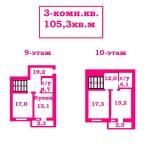 Двухуровневая 3-комн.кв. 105,3м