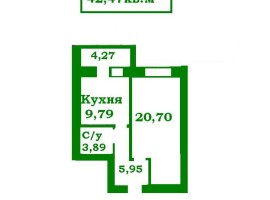 **1-комн.квартира, 42м. Новый дом с автон.отоплением, пр.Мира
