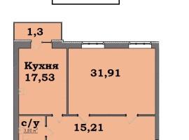 2-комнатная квартира - 69,77 кв.м,  ЖК «Стрелецкая набережная»