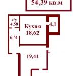 1-к.кв.54,39кв.м